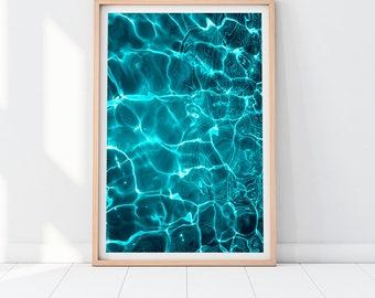 Turquoise Wall Art, Abstract Art Prints, Modern Ocean Print, Blue Wall Decor, Modern Nature Print, Water Reflections, Home Decor