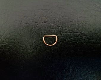 "Rose Gold Titanium IP 20g Seamless 3/8"" (10mm) small D Ring Hoop septum ring body jewelry ear rook smiley helix 316lvm steel"