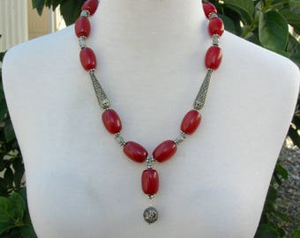 Antique Yemeni Silver Beads & Antique Yemeni Amber Beads, Exquisite Silver Cone Beads, Collector Necklace by SandraDesigns