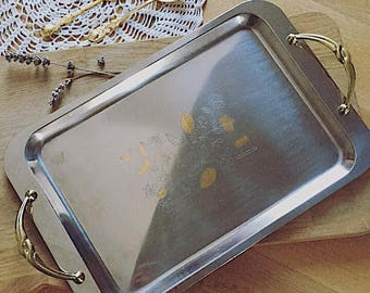 Small tray vintage stainless steel