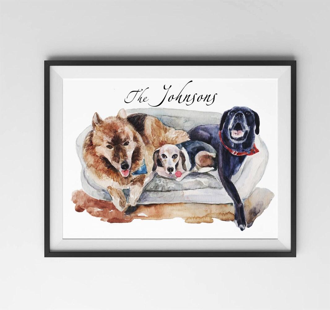 Dog portrait / Custom Pets Portrait / Mother\'s day gift /