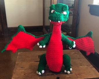 Crochet stuffed dragon, dragon toy, stuffed animal, dragon gift for kids or adult, stuffed crochet, stuffed dragon, crochet dragon