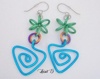 Funky Earrings, Color Earrings, Turquoise Earrings, Green Earrings, Spring Earrings, 2018 Earrings, Aluminum Earrings