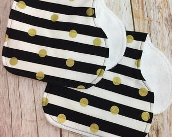 TWO Contoured Burp Cloths - Black, White, and Gold - Stripes and Polka Dots - Girl Burp Cloth Set, Burp Rags, Burp Pads, Spit Up Towels