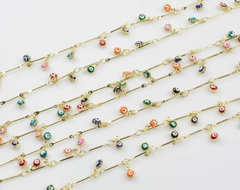 Multicolor Dangly Enamel Chain with Evil Eye Coin Drops Brass 5mm By the Yard