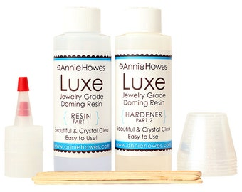 Super Clear Resin for Jewelry. LUXE Doming Resin. Jewelry Grade. Non-toxic Clear Epoxy Resin  Resin Kit. 8 ounce pack.