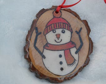 Woodburned and Hand Painted Snowman ornament