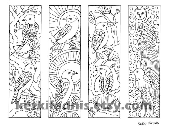 Coloring Bookmarks Birds Bookmarks Coloring Page Instant
