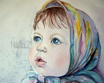 Child Watercolor Portrait, Baby Girl Portrait, Custom Child Portrait, Baby Portrait from Photo, Custom Nursery Decor