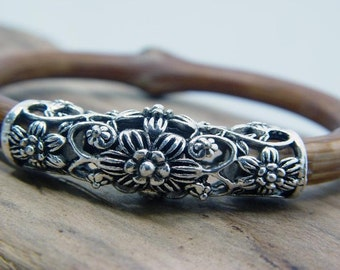 2 Vintage Tibetan Silver Tube Beads for Necklace Pendant, Bracelet or any DIY Beading Craft
