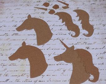 Unicorn Chipboard Die Cut Set Horse Head