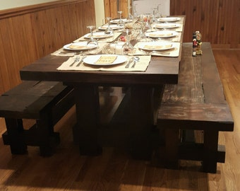 The SEATON Authentic Rustic 3 Thick Aged 100 Year Old Farmhouse Style Table With