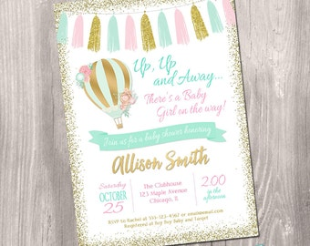 Hot air balloon baby shower invitation girl, Pink and Gold Baby Shower Invitation, Girl Baby Shower Invitation, digital Printable Invitation