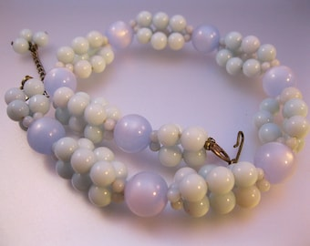 1950s Pale Blue Moonglow Lucite Beaded Necklace Choker Vintage Jewelry Jewellery