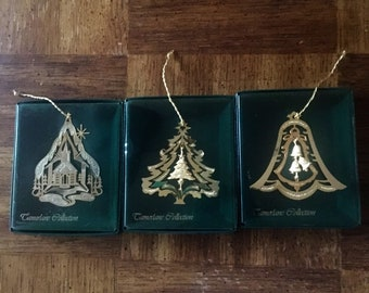 Camerlane Christmas Ornaments, set of three, 24K gold finish, vintage