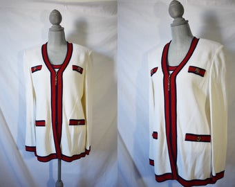 Vintage 80s New Old Stock St. John Blazer Red and White Light Jacket Saint John Shirt and Jacket Set Chanel Style Jacket Cocktail Blazer