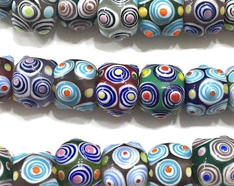 10 pieces Multicolor 15mm Round Lampwork Glass Beads, Art Deco, Abstract, Boho, Hippie, Tribal Beads