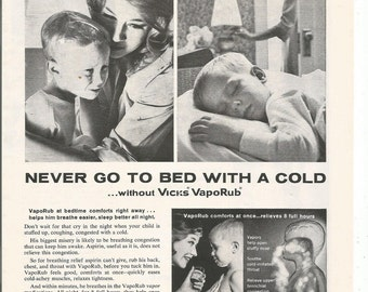 1963 Advertisement Vick's VapoRub Sick Kid Child 60s Mom Mother Bedtime Boy Son Housewife Wall Art Decor