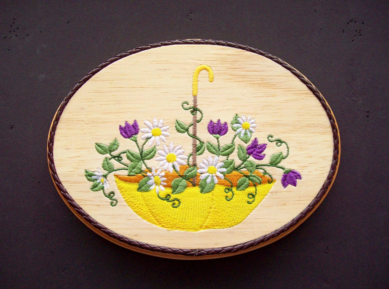 Umbrella Wall Art Wood Embroidery Art Spring Flowers Art