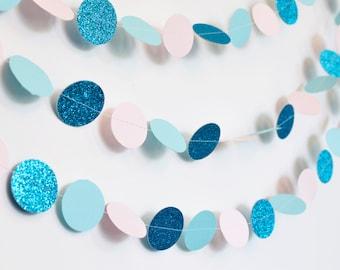 Princess, 10ft, Paper Garland, Pink and Blue, Birthday Party Decor, Wedding Shower Decor, Nursery Decor