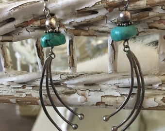 Vintage Silver and Turquoise Dangle Earrings Assemblage Earrings Native American Style Earrings Sterling Ear Wire Turquoise Roundel Beaded