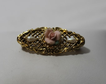 3D Filigree Rosebud Brooch