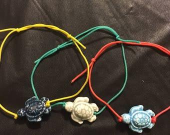 Colorful Turtle Pullcord Bracelet, Turtle Jewelry, Stackable Bracelets, Beachwear