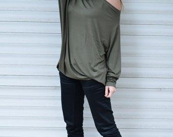 Summer top, Military Green Cotton Tunic Top, Off Shoulder Top, Elegant Green Blouse, Plus Size Dress, Long Sleeve Top by EUG -  TP0537TRV