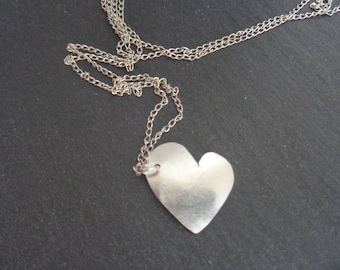 Heart Silver Pendant. Domed Heart Pendant. Handmade Sterling Silver Heart Necklace. Fair Trade Jewelry. Sterling Silver Heart Pendant.