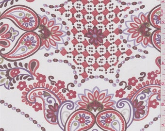 White/Orange Paisley Silk Chiffon, Fabric By The Yard