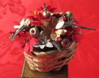 Dollhouse Christmas Flowers in a basket 12th Scale