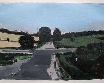 Plaque de maison, le 18 juillet, peinture de paysage d'été originale sur papier, Stooshinoff