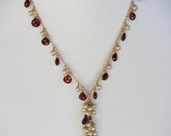 Red Garnet, Champagne Pearl Handmade Lariat Necklace with 14K Gold Chain