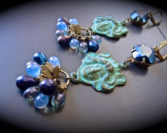"Bohemian earrings, inspired Art nouveau ""Pythia, ancient prophetesses Queen"""
