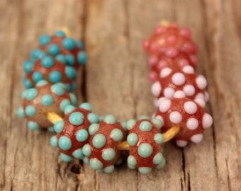 Lampwork bumpy Beads- 5 pairs