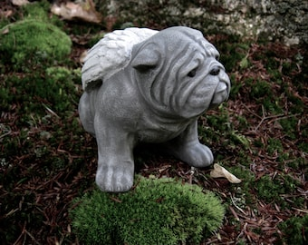 Bulldog Concrete Statue, Bulldog Memorial Angel, Bulldogs With Wings, Pet Dog Memorial Marker Headstones, Garden Statues.
