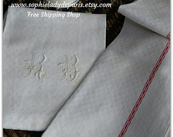 2 Antique 19th C. French Damask Kitchen Towels Monogram Large Thick Metis Linen Dish Clothes Red Line Tea Towels  #sophieladydeparis
