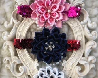 Infant Sequin Flowered Headband