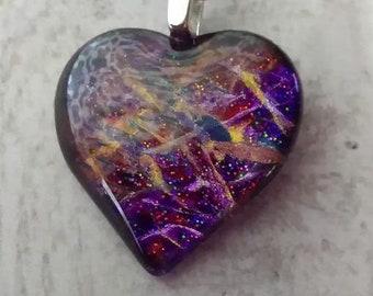 Unique Hand Painted Art Glass Pendant with Necklace