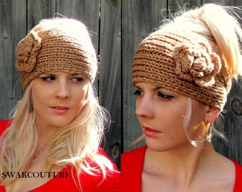 Flower Head Wrap Ear Warmer Messy Bun Wrap Knit Head Wrap Adjustable Buttons - CHOOSE Your color