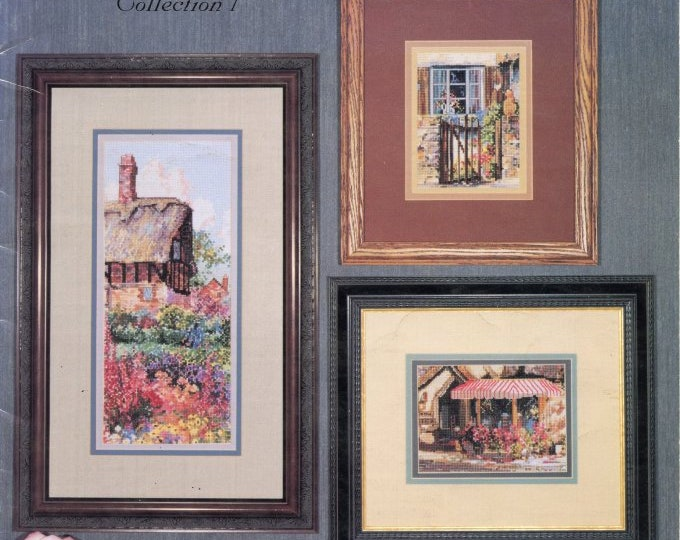 CROSS STITCH LEAFLET; Marty Bell Vignettes, Vintage 1998, thatch, Inn, garden,sanctuary, tea room, Christmas, colored charts