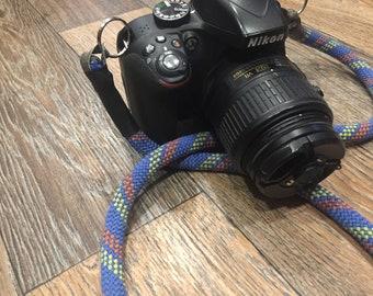 Upcycled used climbing rope camera strap