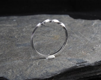 Ring with a twist! Made from sterling silver (0.925) square wire, made at your size. Skinny ring, thin ring, stacking ring.