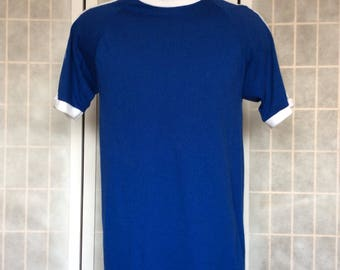 Vintage 1980s// Trax Activewear// Blue White Stripes// Crew Neck T Shirt// L