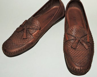 Vintage Cole Haan Country Woven Brown Leather Tassel Loafer Flats Womens Sz 10.5 AA Mens Sz 8.5 AA