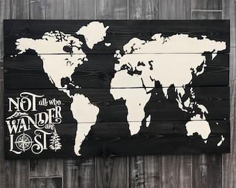 Rustic Wood World Map