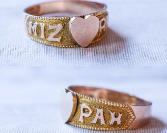 Late Victorian MIZPAH Heart Ring in 9k Gold, c1899
