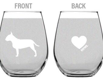 Bull Terrier Stemless Wine Glass Set | Birthday Gift for Dog Lover | Housewarming Present | Wine Drinker Gift | Customizable Glassware