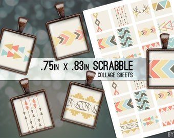 Tribal Geometric Digital Collage Sheet Scrabble Tile .75x.83 Images 4x6 8.5x11 Download Sheets for Glass Resin Pendants