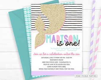 Mermaid Invitation, Mermaid Party Invitation, Under The Sea Invitation, Mermaid Invites, Mermaid Birthday, 1st Birthday | 668